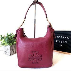 Tory Burch Bags - Tory Burch Harper Burgundy Leather Medium Hobo Bag
